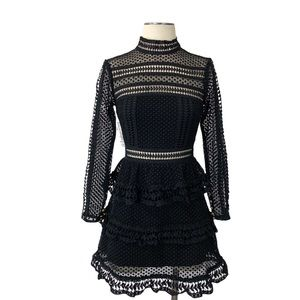 Self Portrait- Black Guipere Lace Mini Dress 4.